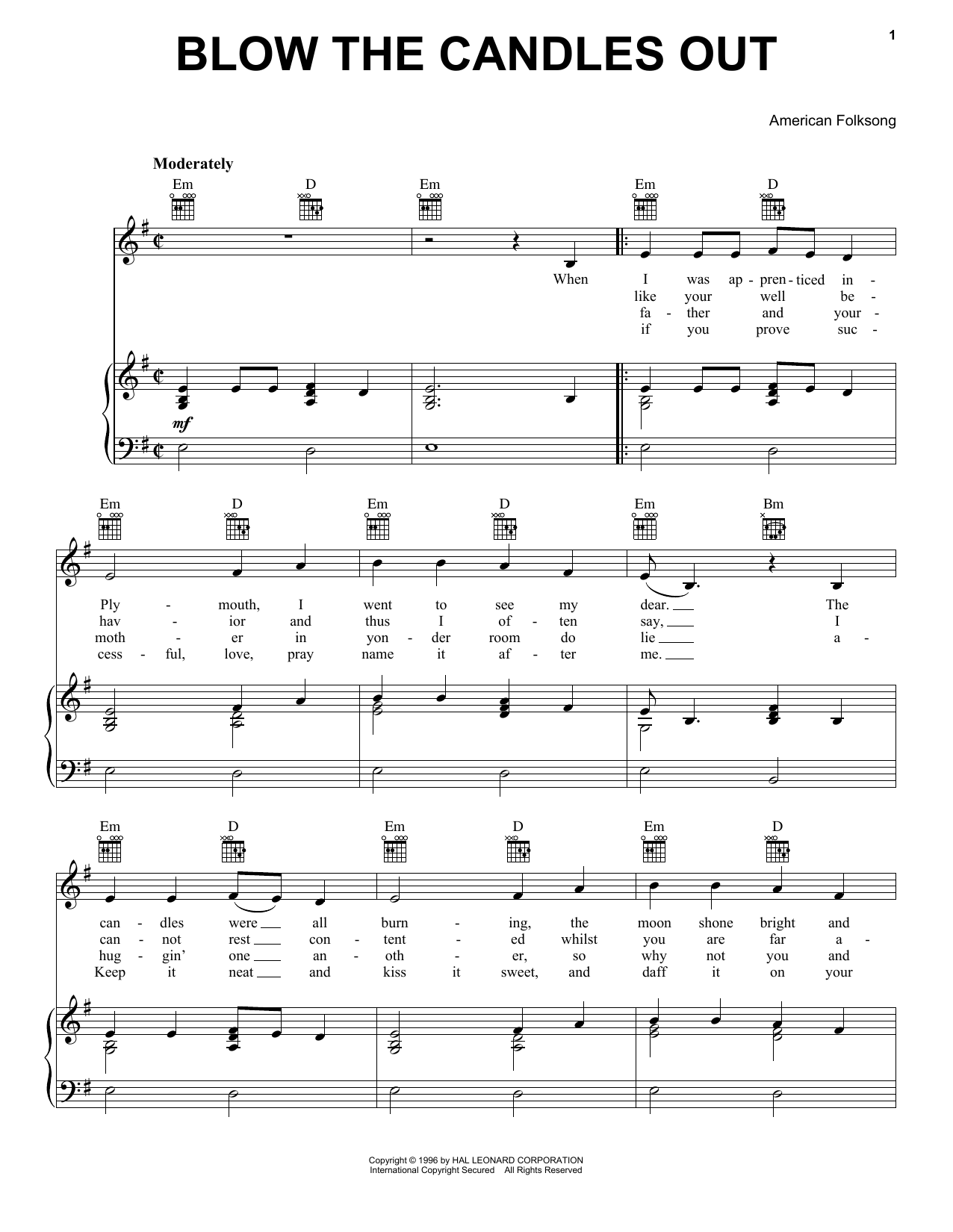 Blow The Candles Out sheet music for voice, piano or guitar by American Folksong
