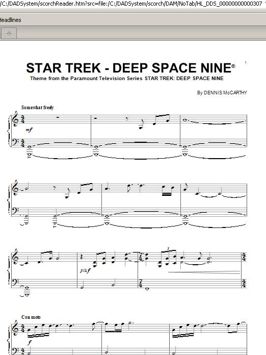 Partition piano Star Trek - Deep Space Nine(R) de Dennis McCarthy - Piano Solo