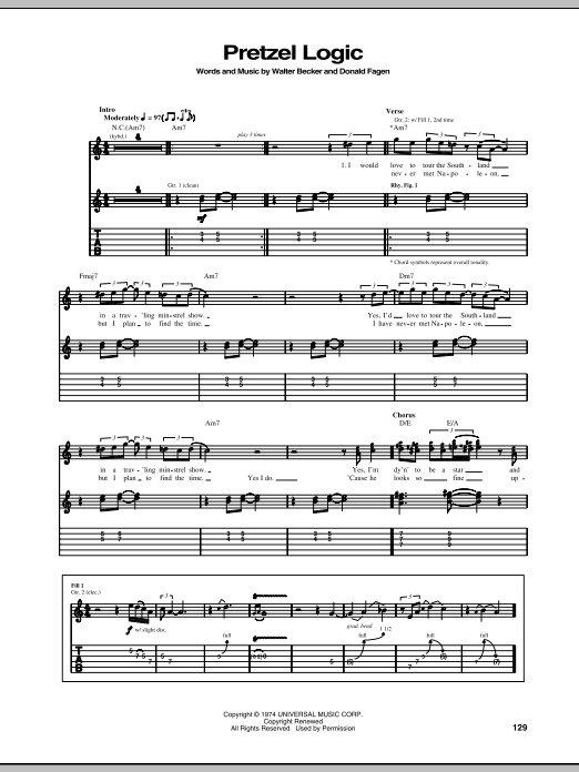 Tablature guitare Pretzel Logic de Steely Dan - Tablature Guitare