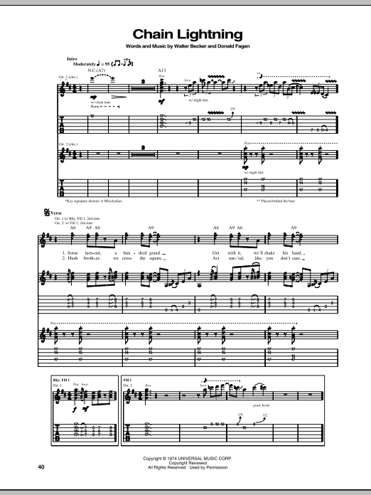 Tablature guitare Chain Lightning de Steely Dan - Tablature Guitare