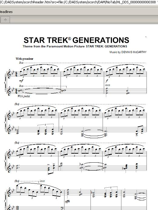 Partition piano Star Trek(R) Generations de Dennis McCarthy - Piano Solo