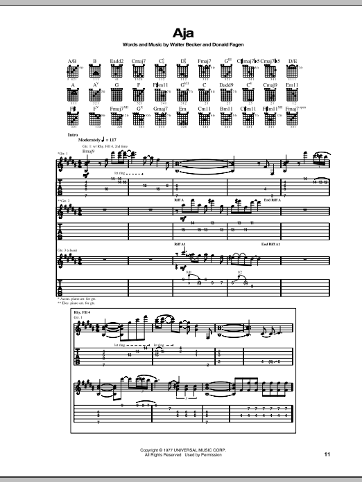 Aja sheet music for guitar solo (tablature) by Walter Becker