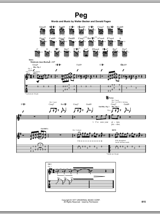 Tablature guitare Peg de Steely Dan - Tablature Guitare