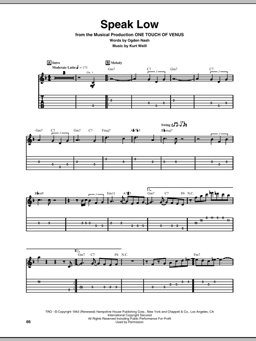 Tablature guitare Speak Low de Kurt Weill - Tablature Guitare