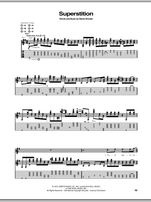 Tablature guitare Superstition de Stevie Ray Vaughan - Tablature Guitare