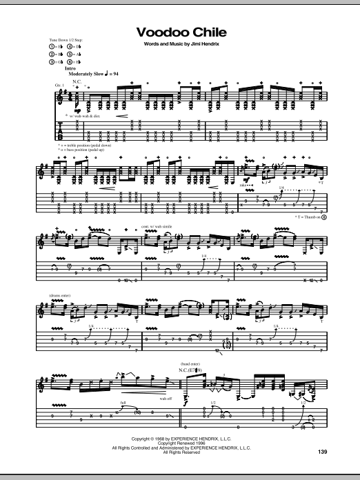 Tablature guitare Voodoo Chile de Stevie Ray Vaughan - Tablature Guitare