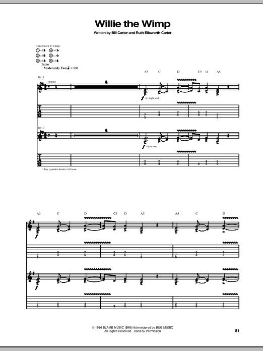 Tablature guitare Willie The Wimp de Stevie Ray Vaughan - Tablature Guitare