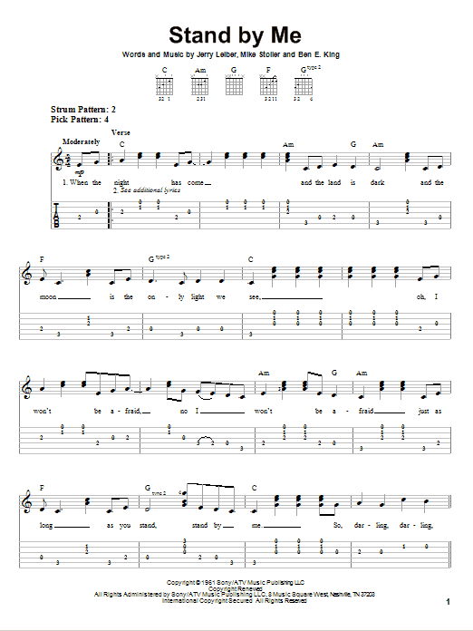 Tablature guitare Stand By Me de Mickey Gilley - Tablature guitare facile