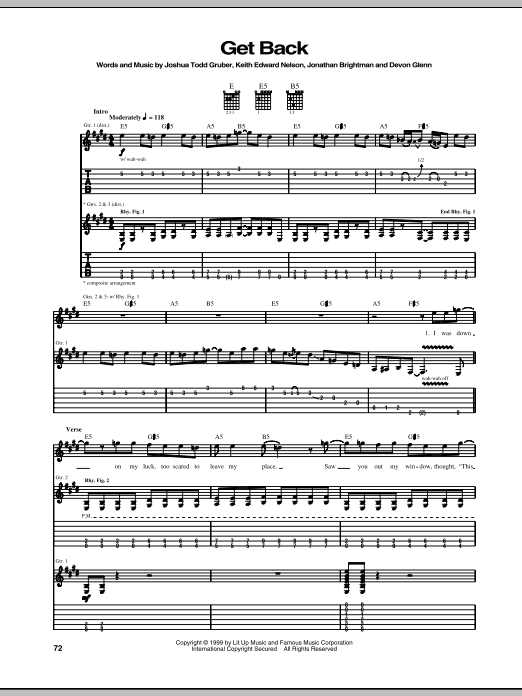 Get Back sheet music for guitar solo (tablature) by Keith Edward Nelson