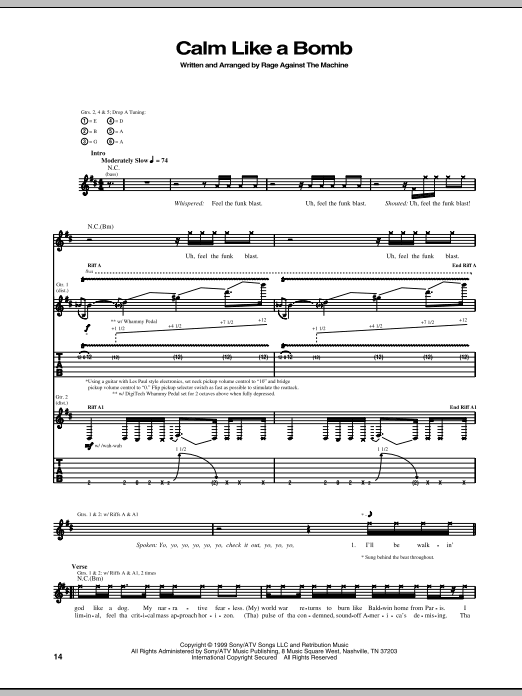 Calm Like A Bomb sheet music for guitar solo (tablature) by Rage Against The Machine