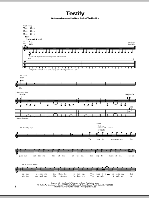 Tablature guitare Testify de Rage Against The Machine - Tablature Guitare