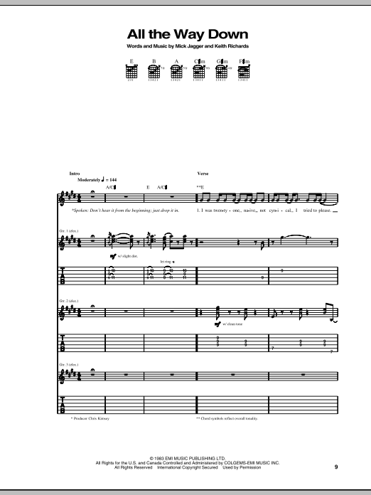 Tablature guitare All The Way Down de The Rolling Stones - Tablature Guitare