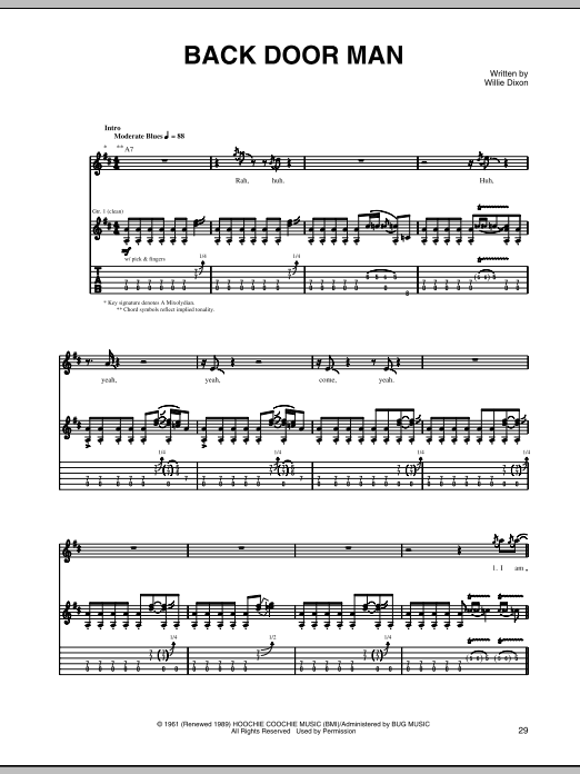 Tablature guitare Back Door Man de Willie Dixon - Tablature Guitare