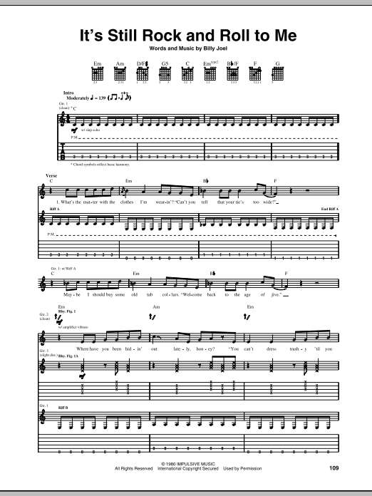 Tablature guitare It's Still Rock And Roll To Me de Billy Joel - Tablature Guitare