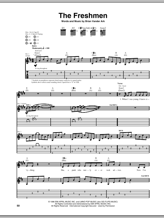The Freshmen sheet music for guitar solo (tablature) by Brian Vander Ark