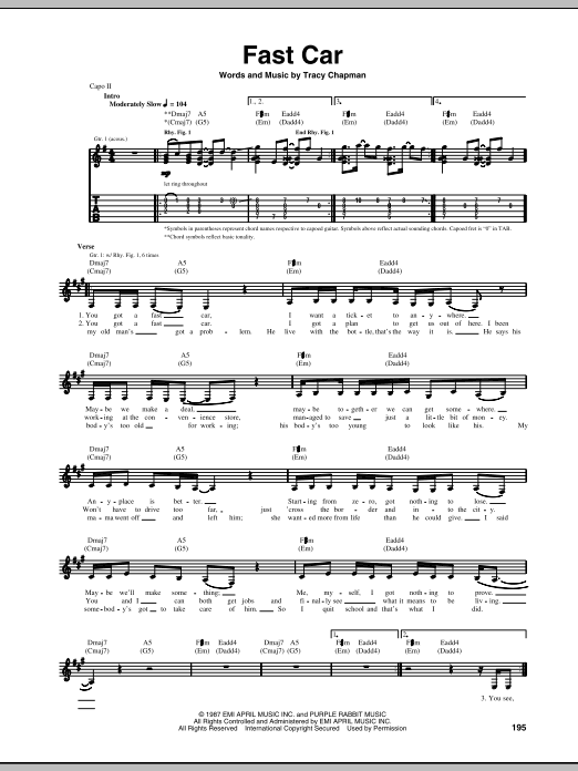 Fast Car Guitar Tab by Tracy Chapman (Guitar Tab u2013 69115)