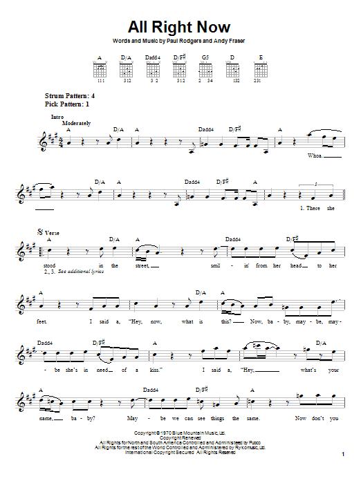 Tablature guitare All Right Now de Free - Tablature guitare facile
