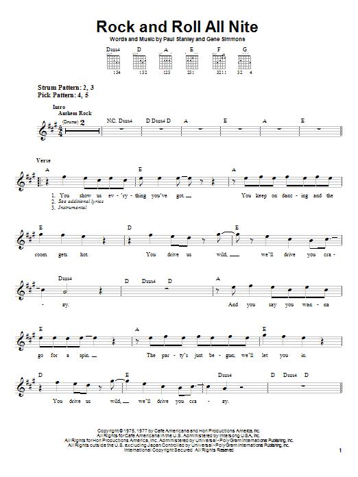 Tablature guitare Rock And Roll All Nite de KISS - Tablature guitare facile