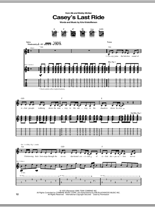 Tablature guitare Casey's Last Ride de Kris Kristofferson - Tablature Guitare