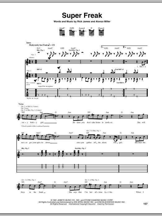 Tablature guitare Super Freak de Rick James - Tablature Guitare