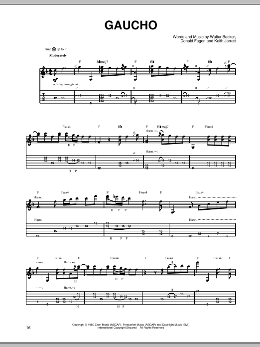 Tablature guitare Gaucho de Steely Dan - Tablature Guitare