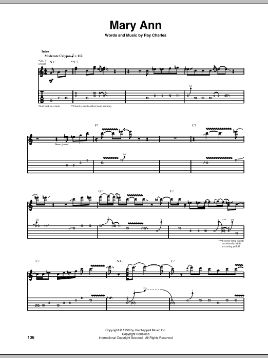 Tablature guitare Mary Ann de Ray Charles - Tablature Guitare