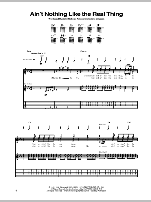 Tablature guitare Ain't Nothing Like The Real Thing de Marvin Gaye & Tammi Terrell - Tablature Guitare