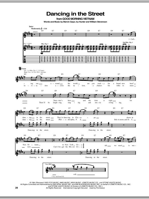 Tablature guitare Dancing In The Street de Martha & The Vandellas - Tablature Guitare