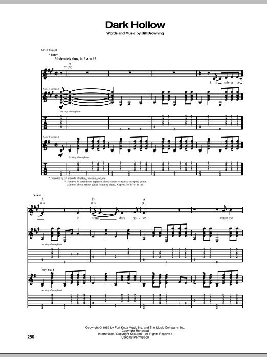 Tablature guitare Dark Hollow de The Grateful Dead - Tablature Guitare