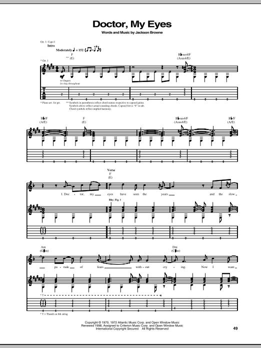 Tablature guitare Doctor, My Eyes de Jackson Browne - Tablature Guitare