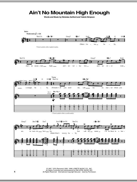 Tablature guitare Ain't No Mountain High Enough de Marvin Gaye & Tammi Terrell - Tablature Guitare