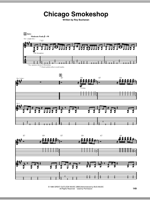 Chicago Smokeshop sheet music for guitar solo (tablature) by Roy Buchanan