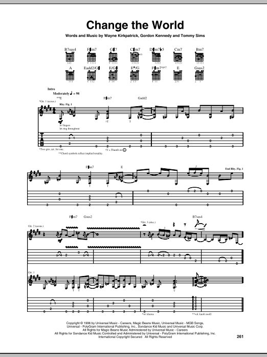 Change The World Guitar Tab by Eric Clapton (Guitar Tab u2013 68818)