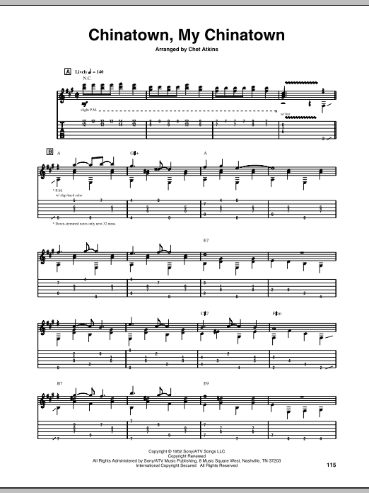 Tablature guitare Chinatown, My Chinatown de Chet Atkins - Tablature Guitare