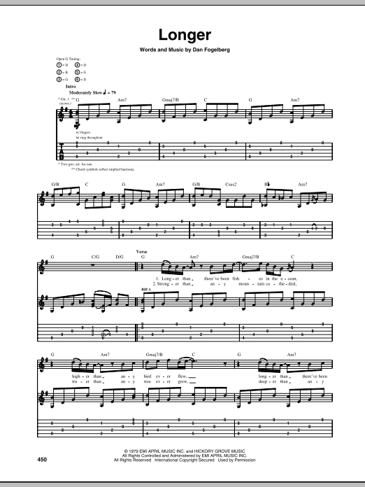 Longer sheet music for guitar solo (tablature) by Dan Fogelberg