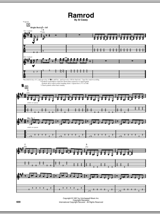 Ramrod sheet music for guitar solo (tablature) by Al Casey