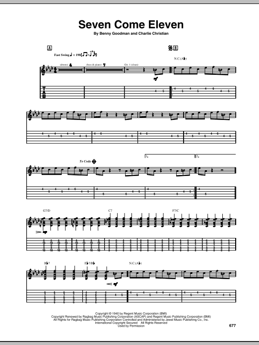 Tablature guitare Seven Come Eleven de Charlie Christian - Tablature Guitare