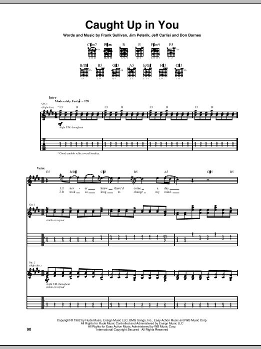 Tablature guitare Caught Up In You de 38 Special - Tablature Guitare