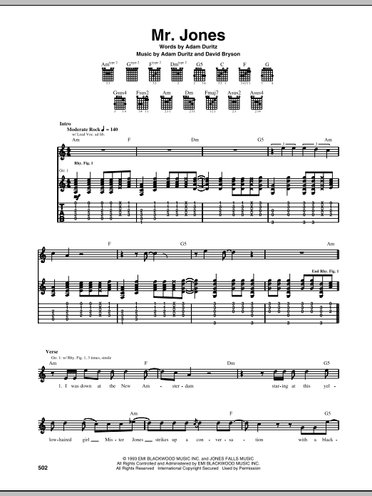 Tablature guitare Mr. Jones de Counting Crows - Tablature Guitare