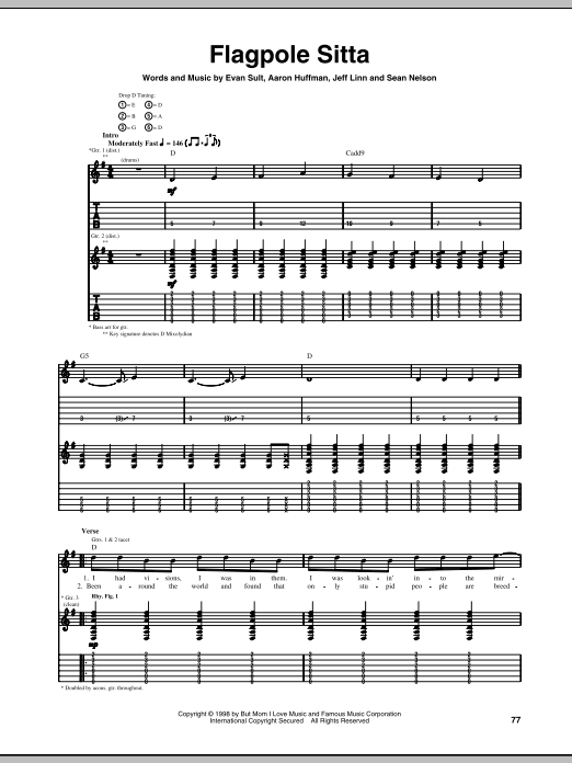 Tablature guitare Flagpole Sitta de Harvey Danger - Tablature Guitare