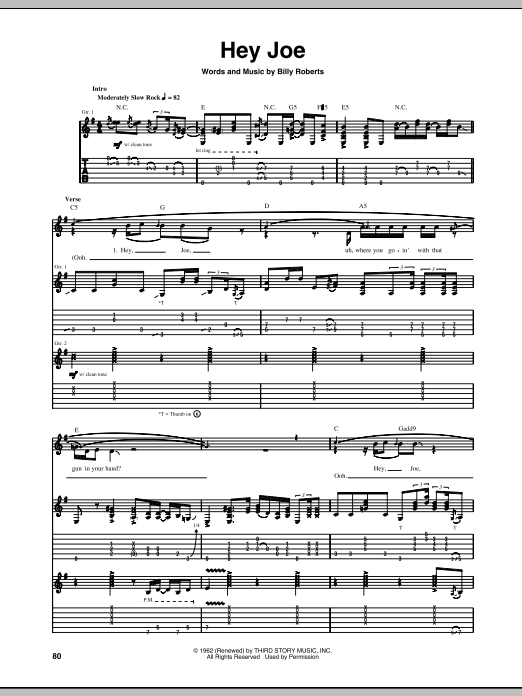 Hey Joe Guitar Tab By Jimi Hendrix Guitar Tab 84633