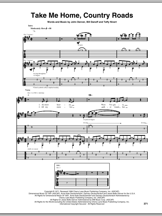 Tablature guitare Take Me Home, Country Roads de John Denver - Tablature Guitare