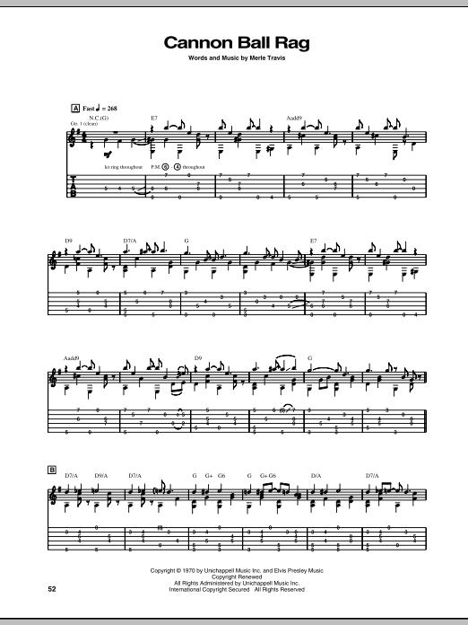 Tablature guitare Cannon Ball Rag de Merle Travis - Tablature Guitare