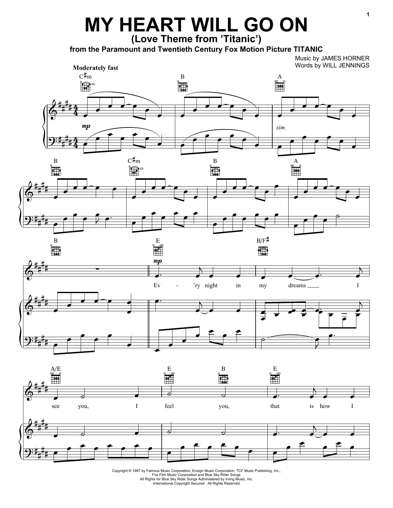 My Heart Will Go On (Love Theme from Titanic) sheet music by Celine Dion (Piano u0026 Vocal u2013 88725)