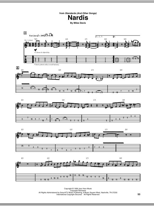 Nardis sheet music for guitar solo (tablature) by Mike Stern