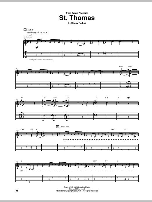 Tablature guitare St. Thomas de Jim Hall - Tablature Guitare