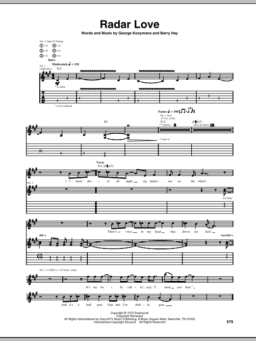 Radar Love sheet music for guitar solo (tablature) by George Kooymans