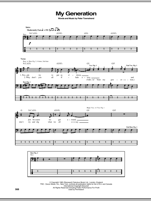 Tablature guitare My Generation de The Who - Tablature Basse