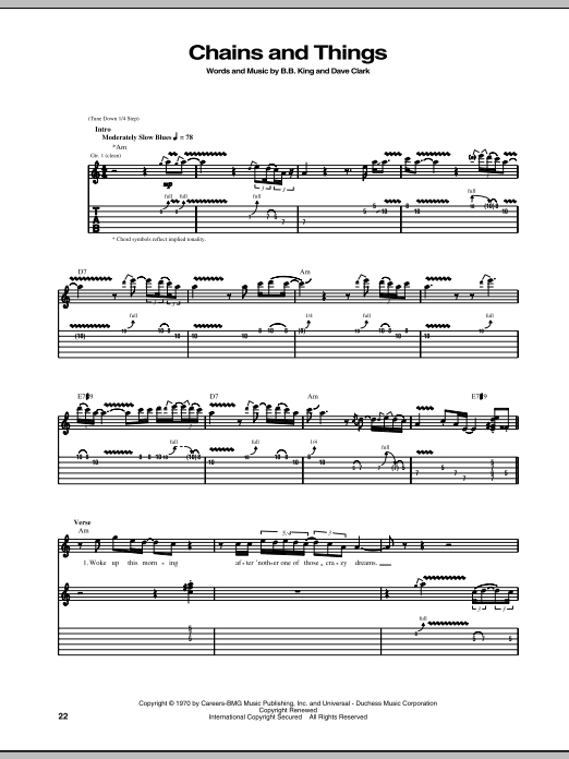 Tablature guitare Chains And Things de B.B. King - Tablature Guitare