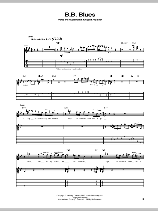 B.B. Blues sheet music for guitar solo (tablature) by Joe Bihari